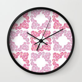 Digital Overlapping Colourful Cluster of Roses Design Wall Clock
