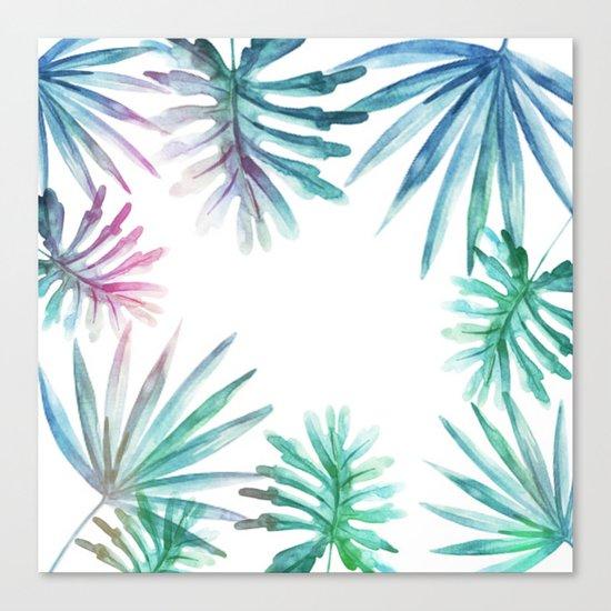 Watercolor botanical leaves Canvas Print