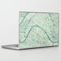 paris map Laptop & iPad Skins featuring Paris Map Blue Vintage by City Art Posters