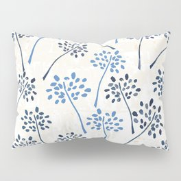 Indigo floral watercolor pattern Pillow Sham