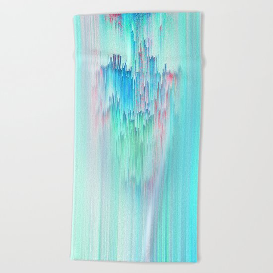 Rainbow Cascade Glitch Beach Towel