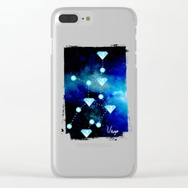 Virgo Constellation in Blue Topaz - Star Signs and Birth Stones Clear iPhone Case