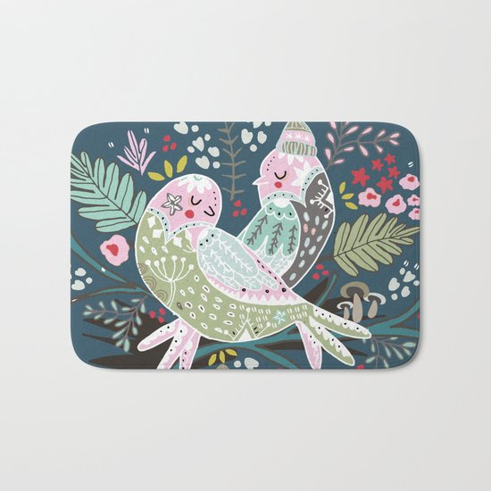 Holiday Birds Love Bath Mat