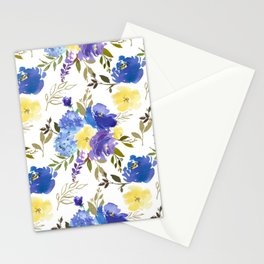 Bouquets of Blue and Yellow Blossom with Gold Leaves on Gray Stationery Cards