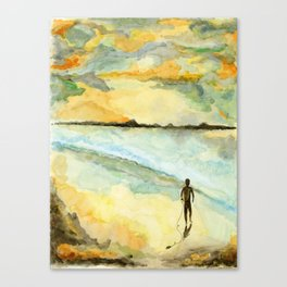 Orange Sunset Surf Canvas Print