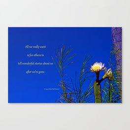 """Cactus Flower #153"" with poem: After All, Revisited Canvas Print"