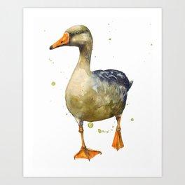 Goose, golden goose, goosey goosey gander, fowl art, farmyard animals, kitchen wall art Art Print