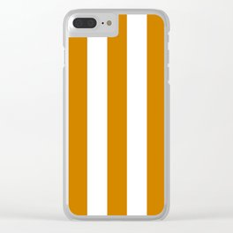 Mustard brown - solid color - white vertical lines pattern Clear iPhone Case