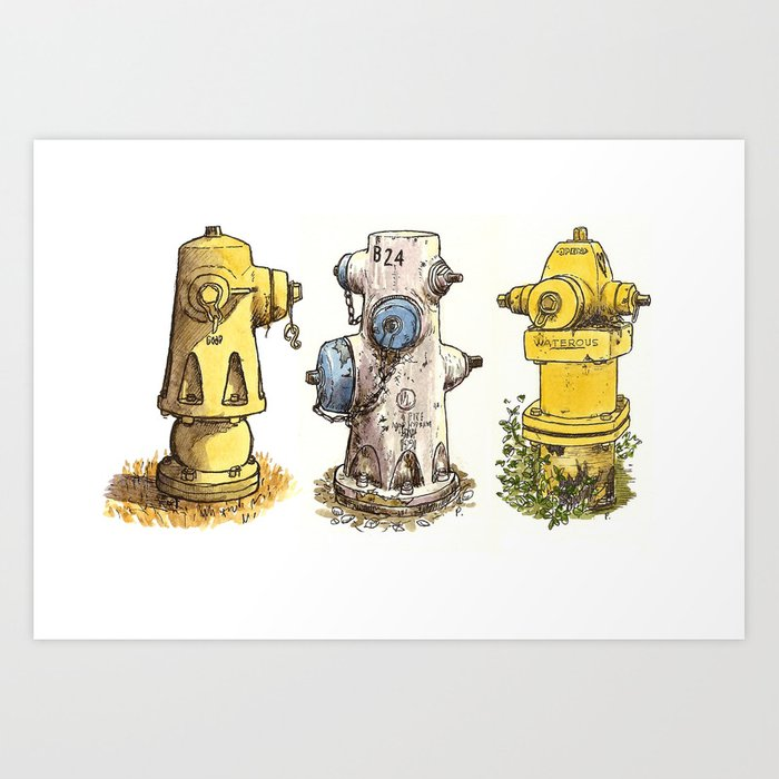 Pete's fire hydrants Art Print
