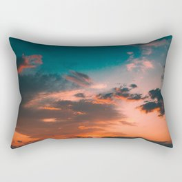 Colorful Pink Orange Turquoise Sunset Clouds Ombre Gradient Rectangular Pillow