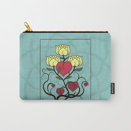 Hearts and Lotus Flowers Carry-All Pouch
