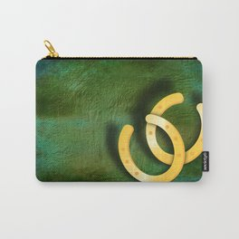 Lucky horseshoes on a textured green background Carry-All Pouch