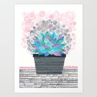 succulent Art Prints featuring succulent by Asja Boros