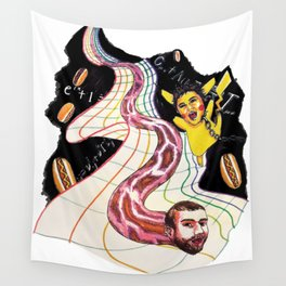 Snake-man and friend in hyper-dimensional curved spacetime Wall Tapestry