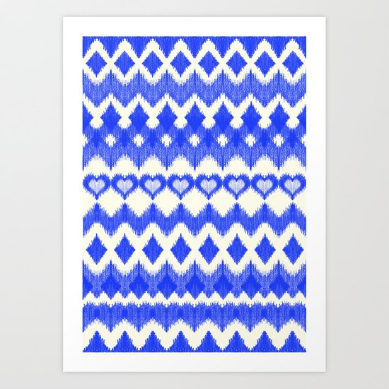 Ikat Pattern in Cobalt Blue & White Art Print