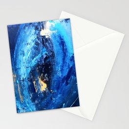 Vortex: a vibrant, blue and gold abstract mixed-media piece Stationery Cards
