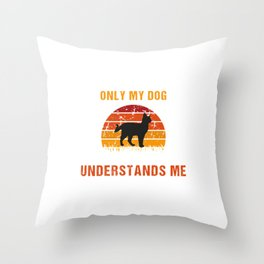 Only my cat understands me  - Retro Vintage Throw Pillow