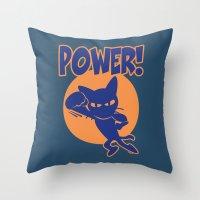 power Throw Pillows featuring Power! by BATKEI