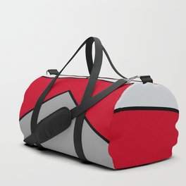 Diagonal Color Blocks in Red and Grays Duffle Bag
