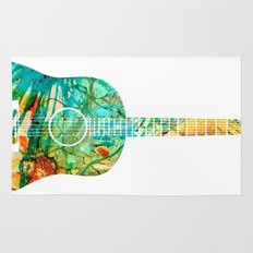 Acoustic Guitar 2 - Colorful Abstract Musical Instrument Rug