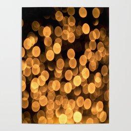 Golden Bokeh Light On A Black Background #decor #society6 Poster