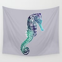 sea horse Wall Tapestries featuring Grey Sea Horse by Cat Milchard