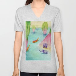Thailand Travel Poster Unisex V-Neck
