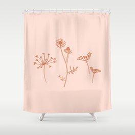 Wildflower Line Art Shower Curtain
