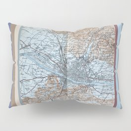Firenze, Italia = Florence, Italy antique map 1800s Pillow Sham