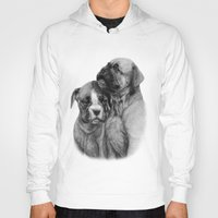 puppies Hoodies featuring Boxer Puppies by Danguole Serstinskaja