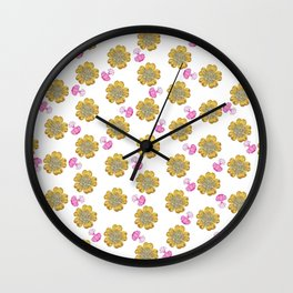 Girly pink perfume bottle faux gold glitter floral Wall Clock