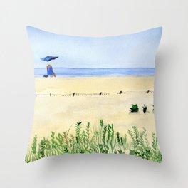 Assateague Island Watercolor Beach Painting Throw Pillow