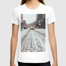 Yellow cab during snow T-shirt