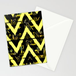 Golden abstract chevron Stationery Cards