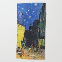 Café Terrace at Night by Vincent van Gogh Beach Towel