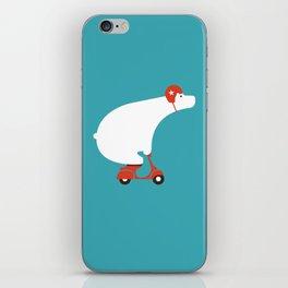 Polar bear on scooter iPhone Skin