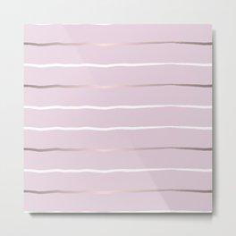 Pastel milky pink, gold stripes Metal Print