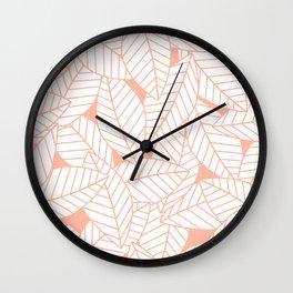Leaves in Creamsicle Wall Clock