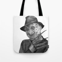 freddy krueger Tote Bags featuring Freddy Krueger by axemangraphics
