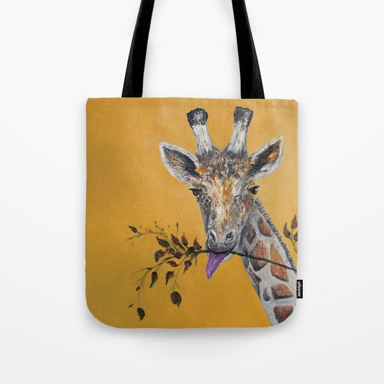 Giraffe in Orange Tote Bag