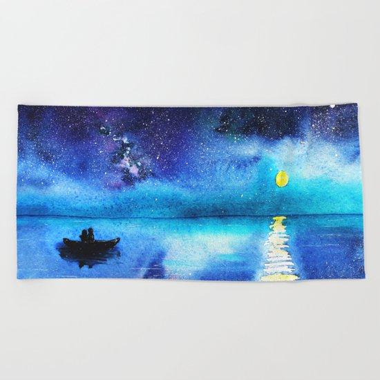 Under the moonlight || watercolor Beach Towel