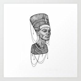 Nefertiti bust dotted Art Print