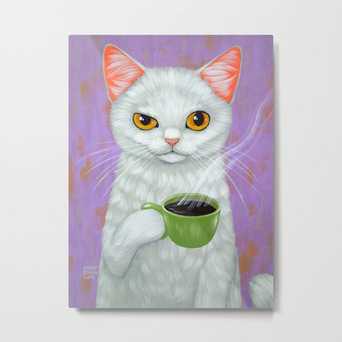WHITE CAT AND BLACK COFFEE Metal Print