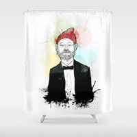 zissou Shower Curtains featuring Steve Zissou  by suPmön