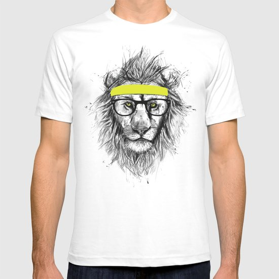 hipster lion t shirt by balazs solti society6. Black Bedroom Furniture Sets. Home Design Ideas