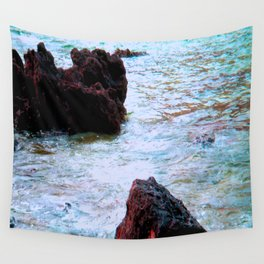 red rocks and turquoise sea Wall Tapestry