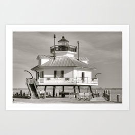 Hooper Strait Lighthouse B&W Art Print