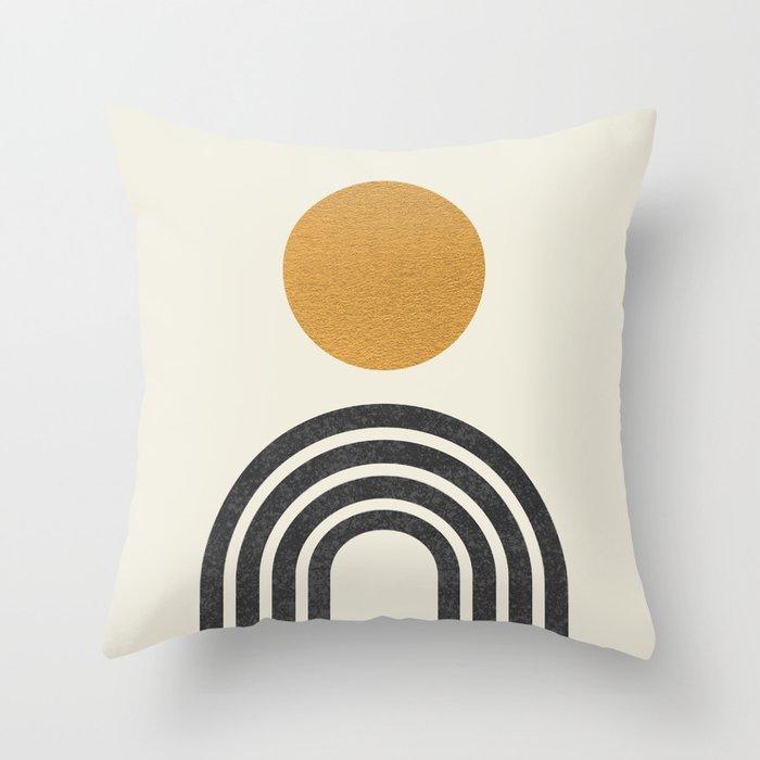 Mid century modern gold Throw Pillow