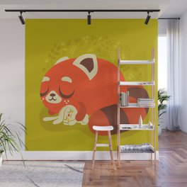 Sleeping Red Panda and Bunny / Cute Animals Wall Mural