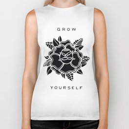 black rose/grow yourself Biker Tank